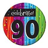 8-Count Round Paper Dessert Plates, Celebrate 90, Milestone Celebrations