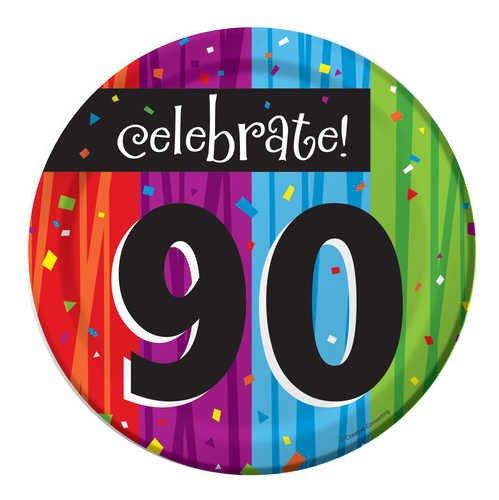 8-Count Round Paper Dessert Plates, Celebrate 90, Milestone Celebrations]()
