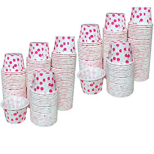 Paper Taster Cups -Hot Pink White - Polka Dot Sample Size - 250 Pack