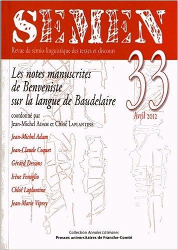 Semen n 33/2012. les notes manuscrites de benveniste sur la ...