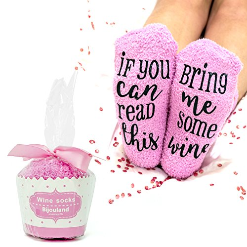 BijouLand - If You Can Read This Bring Me Some Vine, Fuzzy Socks for Women, Funny Cute Saying Socks Valentines Day Gift -