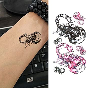 9dadaf8097e15 Amazon.com : Oottati Assorted Temporary Tattoos Pink Scorpion (2 Sheets) :  Beauty