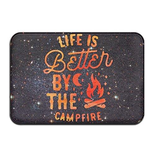 Jia3261 Soft Non-slip Life's Better Campfire Bath Mat Coral Fleece Area Rug Door Mat Entrance Rug Floor Mats