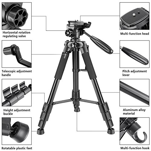 Neewer Travel Aluminum Camera Tripod 56 inches with 3-Way Swivel Pan Head and Smartphone Holder, Compatible with Canon Nikon DSLR Camera, DV Video Camcorder, iPhone and Android Smartphone (Black) by Neewer (Image #1)