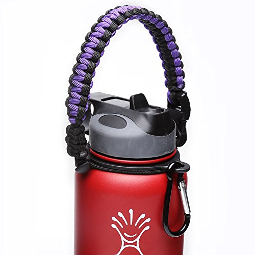 Hydro Flask Handle - Paracord Survival Strap with Security Ring for Wide Mouth Water Bottles Carrier (Purple/Black) (Sports Water Jug With Hooks compare prices)