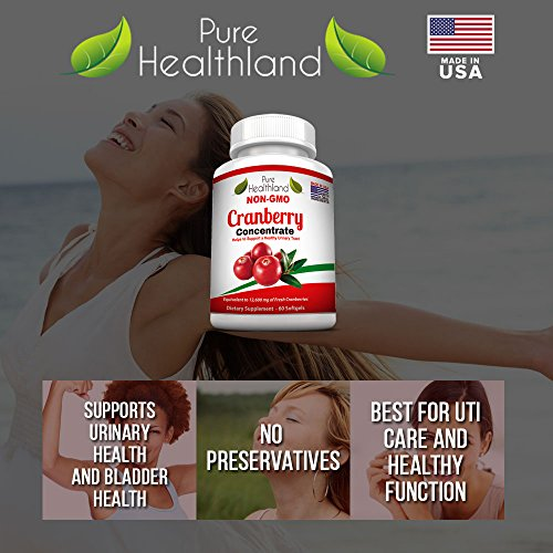 Non GMO Cranberry Concentrate Supplement Pills for Urinary Tract Infection UTI. Equals 12600mg Cranberries. Triple Strength Kidney Bladder Health for Men & Women. Easy to Swallow Softgels, 6 Bottles by Pure Healthland (Image #1)