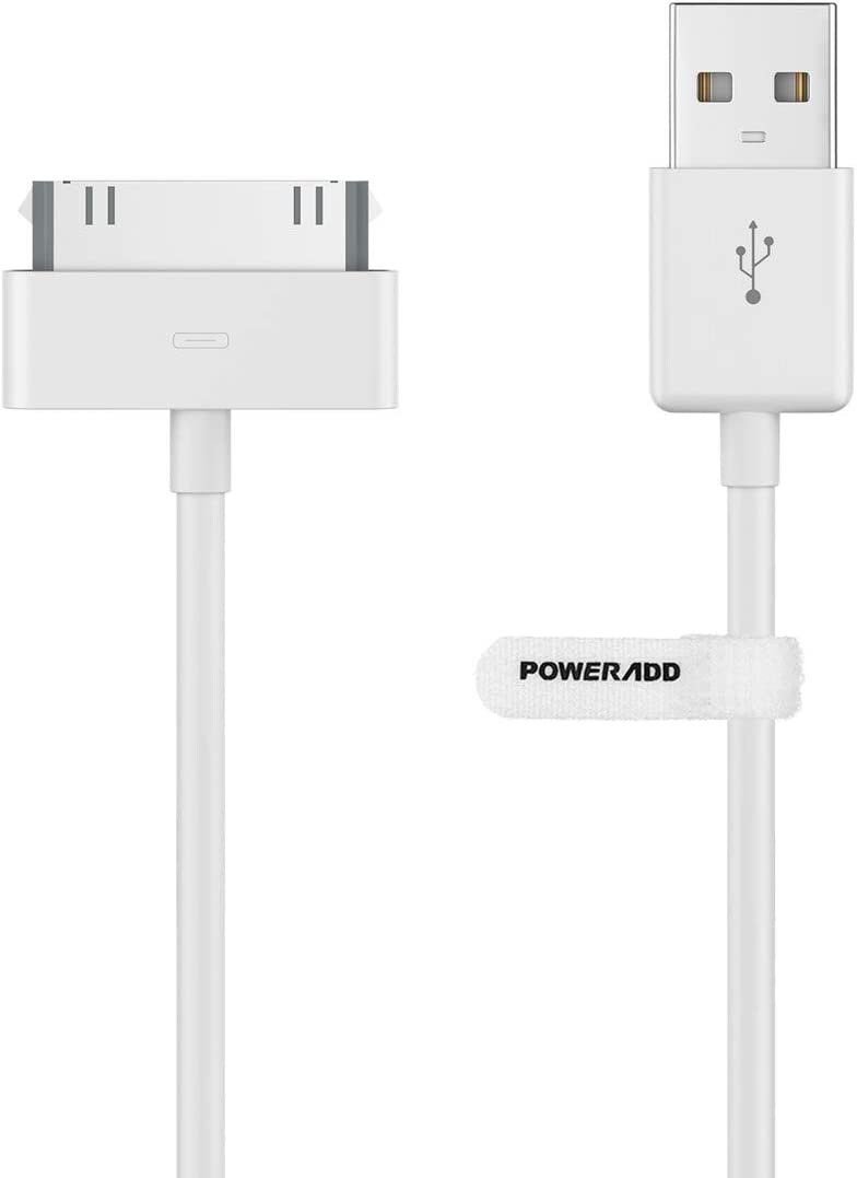 POWERADD Apple Certified iPhone 4 4s 3G 3GS iPad 1 2 3 iPod Touch Nano 30 Pin Charger USB Sync Cable Charging Cord Dock Adapter Data 4 Feet White (1pcs)