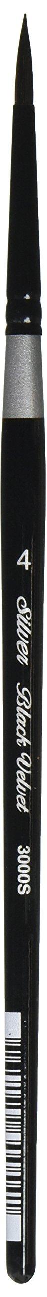 Silver Brush 3000S-4 Black Velvet Short Handle Blend Squirrel and Risslon Brush, Round, Size 4