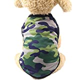 Woodland Camouflage Dog Clothes JOYFEEL Summer Cotton Vest Pet Clothing Sleeveless T-shirt Puppy Vest (S, Green)