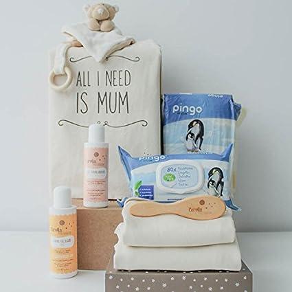 Cesta bebé ecológica unisex - Incluye cosméticos para bebé naturales, cepillo natural, doudou mantita