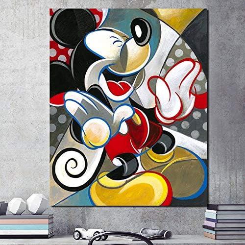 Geiqianjiumai Ratón de Dibujos Animados Lienzo Abstracto Arte de la Pared Pintura al óleo decoración Moderna jardín de Infantes decoración del hogar HD Pintura sin Marco 24x30 cm: Amazon.es: Hogar