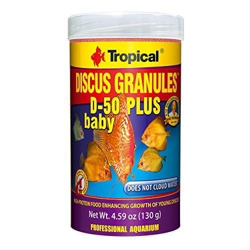 (Tropical USA Discus Granules D-50 Plus Baby Fish Food Tin, 130g)