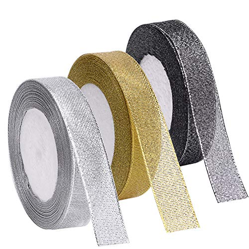 Livder 3 Rolls 75 Yard Metallic Glitter Ribbon for Gift Wrapping Birthday Holiday Graduation Party Decoration (Golden, Silvery, - Flowers Organza Individual