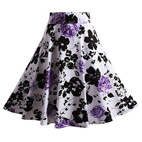 Fancyqube(TM) Women Pleated Vintage Skirts Floral Print Midi Skirt Purple Medium