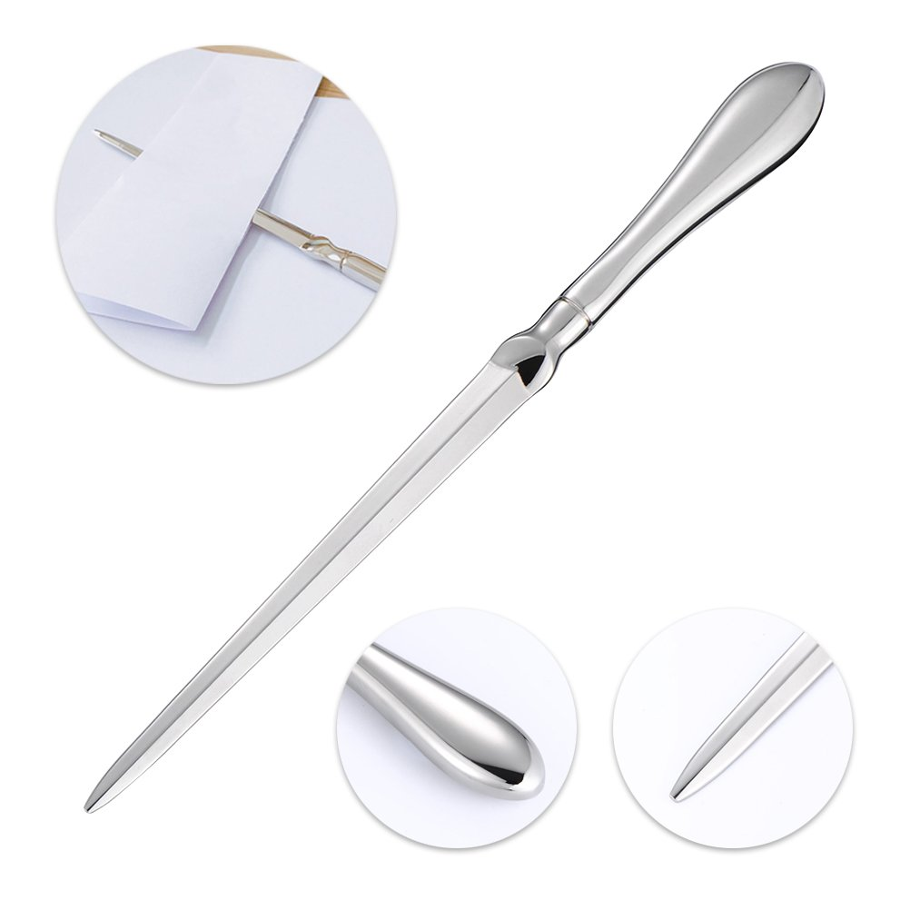 Vankcp 2pcs Letter Openers,Envelope Opening Knife and Siliver Stainless Steel Envelope Slitter