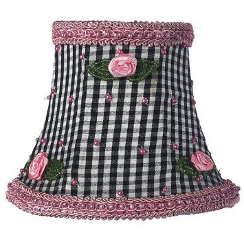 Jubilee Collection 2255 Black Check with Pink Rosebud Chandelier - Chandelier Shade Pink Rosebuds
