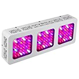 MAXSISUN M300 96x3W 12-band LED Grow Light - Dual Switches Full Spectrum with Secondary Optics Lens for Indoor Plants Veg and Bloom