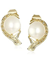 10k Yellow Gold Earrring with Diamond and White Cultured Pearl Earrings