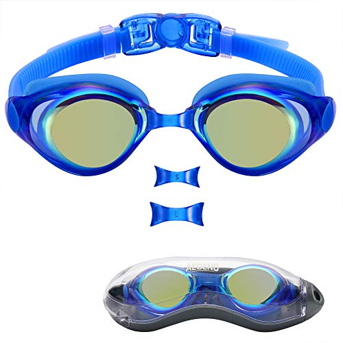 aegend Swim Goggles, Swimming Goggles of Flat Lens Replaceble Nose Piece for Men Women Adult Youth, Anti-Fog UV Protection Leak-Proof Triathlon Goggles with Protection Case, Blue Sliver