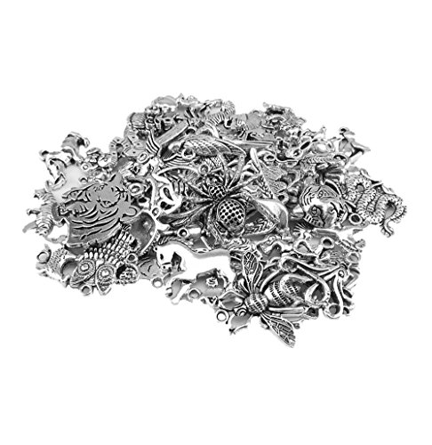 yueton Approx 60pcs DIY Assorted Animal Pattern Pedants Charms for Crafting, Jewelry Making Accessory ()