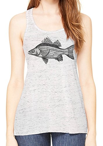 reshwater Bass Womens Flowy Racerback Tank (White Marle, XX-Large) (Bass Womens Sleek)