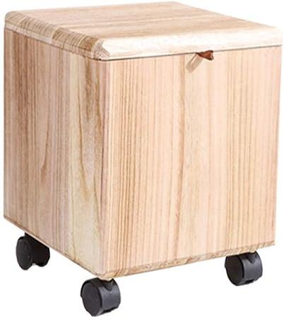 HYX Taburete de almacenaje de Madera Maciza con Ruedas, Caja de Juguetes para Almacenamiento, Mesa de Cubo para Sala, Dormitorio y Oficina (Color : Natural): Amazon.es: Hogar
