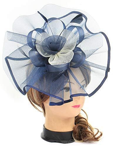 (Fascinator Hats Tea Party Wedding Headband Kentucky Derby Flower Feather Cocktail Headwear Veil Hats Hair Clip for Women and Girls(Navy Blue &)