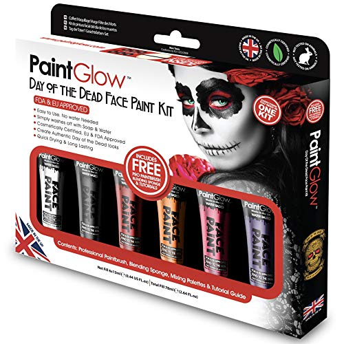 PaintGlow, Day of the Dead Face Paint Kit with brush sponge and 6 colours