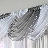 Ideal Textiles Jewelled Crystal Sparkle Voile Curtain Swag, Bling Swags, Sequin Gem Sparkle Trim, Silver, Grey