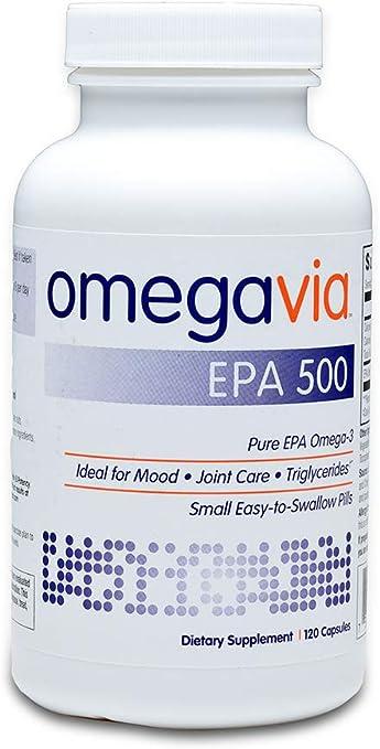 OmegaVia EPA 500 Omega-3 Fish Oil, 120 Capsules, 500 mg EPA/Pill, High-Purity EPA Formula (Triglyceride Form), IFOS 5-Star Certified, w/ Fish Gelatin Capsule, Gluten-Free, Non-GMO