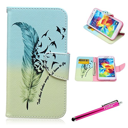 Galaxy S5 Case, Firefish Galaxy S5 Wallet Case [Kickstand] [Bumper] PU Leather Protective Skin Shock Absorption Magnetic Closure for Samsung Galaxy S5 - - T Zion Glasses
