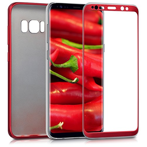 kwmobile Cover for Samsung Galaxy S8 - Full body case smartphone protective case TPU silicone - back cover metallic dark red