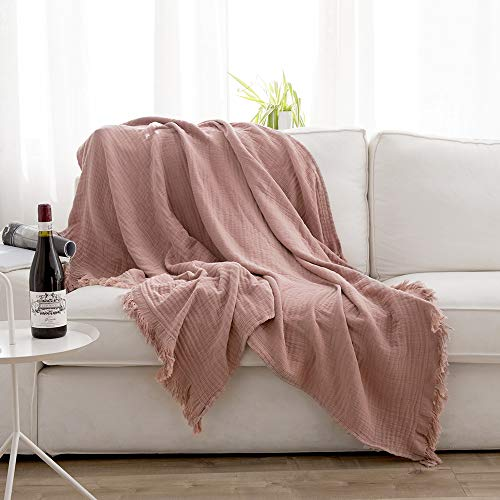 - Simple&Opulence Natural Wrinkled Cotton Throw Blanket Knit Woven with Tassels Cozy Blanket Scarf Shawl Farmhouse Decoration (Dusty Rose)