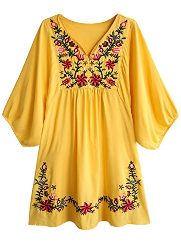 Futurino Women's Bohemian Embroidery Floral Tunic Shift Blouse Flowy Mini Dress,Mustard Star Flower,Large