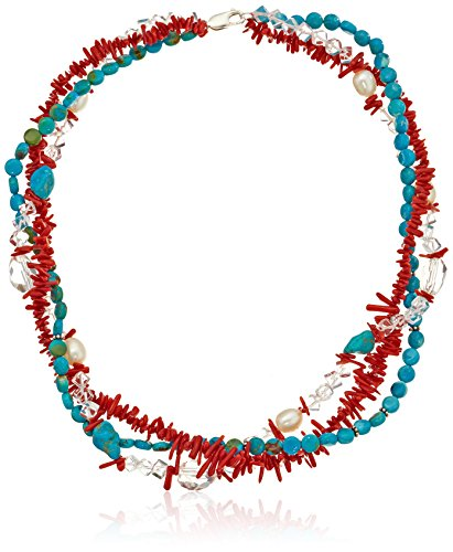 Bamboo Turquoise Necklace - 3 Row Dyed Red Sea Bamboo, Dyed Turquoise Coins and Nuggets with Crystal and White Rice Freshwater Cultured Pearls Sterling Silver Accents Strand Necklace, 18