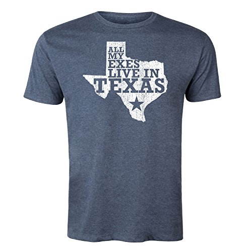 All My Exes Live in Texas -Adult Short Sleeve TEE-L Heather Blue (All My Exes Live In Texas Shirt)
