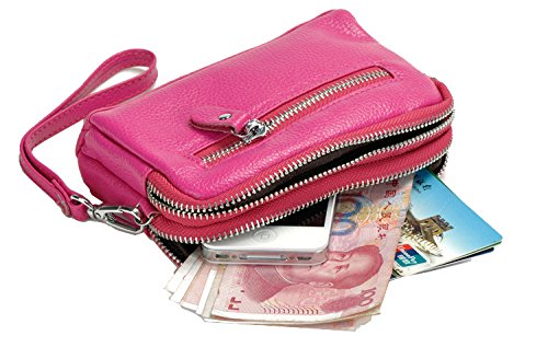 Women's Purse Bag Clutch Coin Wallet Zip Leather Sale Red Wristlet Organizer Rose rrwHCAxq