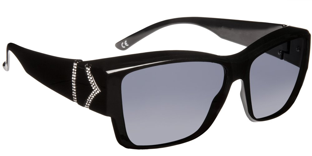 Haven Fitover Sunglasses Stella in Black Chevron & Polarized Grey Lens by Haven Fits Over Sunwear (Image #1)