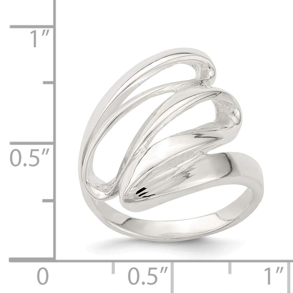 Size 6 925 Sterling Silver Fancy Polished Ring