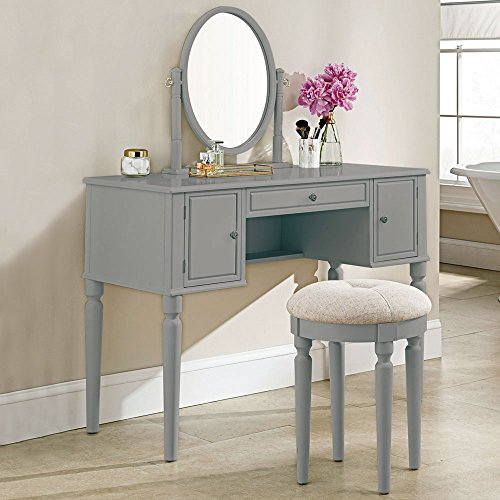 SEESUU Vanity Table Set with Mirror 3 Drawers Makeup Dressing Table with Cushioned Stool Grey (Table Makeup Furniture Vanity)