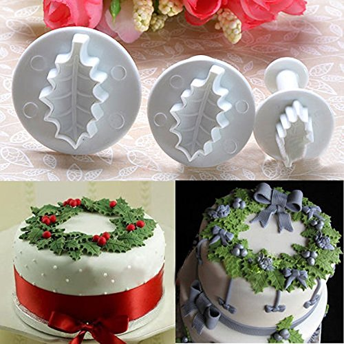 3X Christmas Holly Leaf Cake Cookie Cutter Sugarcraft Decorating Mold ()
