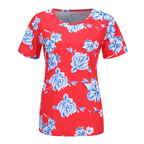 Womens Casual Curved Hem Long Sleeve T Shirt V Neck Side Slit Blouse, Womens Summer Sleeveless Floral Print Racerback Midi Dresses with Pocket Red