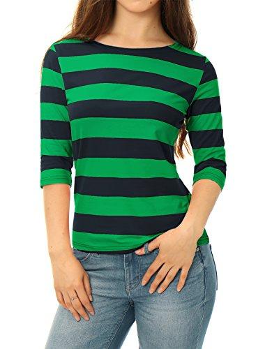 Allegra K Women's Elbow Sleeves Boat Neck Slim Fit Striped Tee Dark Green M (US 10)