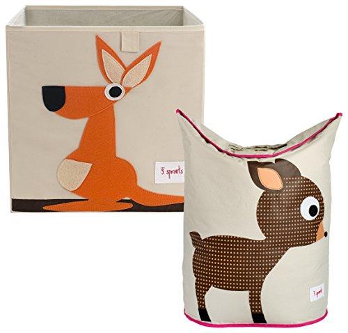3 Sprouts Storage Box and Laundry Hamper, Kangaroo/Deer