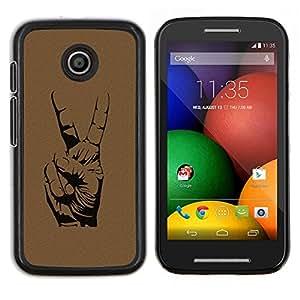 TECHCASE---Cubierta de la caja de protección para la piel dura ** Motorola Moto E ( 1st Generation ) ** --Paz Gesto de mano