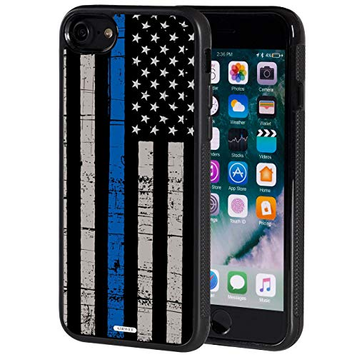 iPhone 7 Case,AIRWEE Slim Anti-Scratch Shockproof Silicone TPU Back Protective Cover Case for iPhone 7 4.7 Inch,Weathered Thin Blue Line Flag