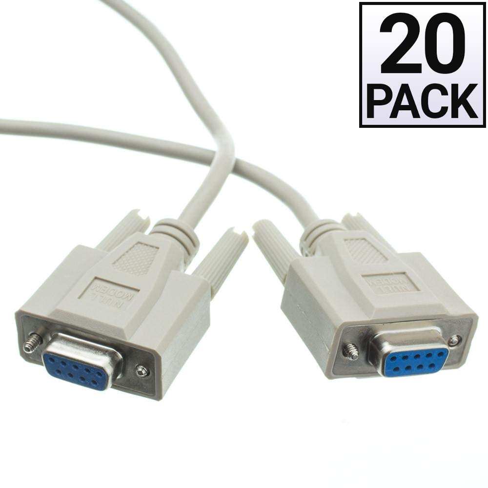 GOWOS (20 Pack) Null Modem Cable, DB9 Female, UL Rated, 8 Conductor, 25 Feet by GOWOS