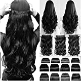 BIGWAVE® 5 Clips Based 24 inch Curly/Wavy Synthetic Fibre Hair Extension (Black)