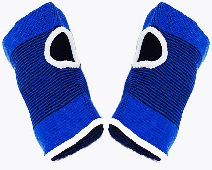 2 x universal fitting elasticated blue wrist and hand supports -