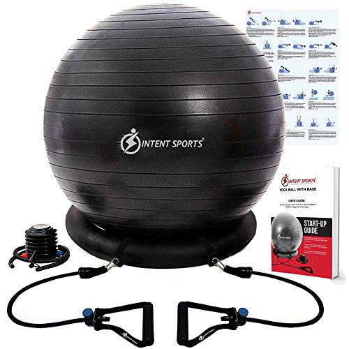 INTENT SPORTS Yoga Ball Chair – Stability Ball with Inflatable Stability Base & Resistance Bands, Fitness Ball for Home…